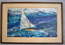 HOWARD BRADFORD SEA AND SAILS 1967 SERIGRAPH. Howard Bradford (1919-2008). Signed in pencil: 11/45 Sea & Sails Howard Bradford 1967. in linen wrapped matte in wood frame (no glass). Size: window: 21 1/4''H, 35''W. frame: 28 1/2''H, 47''W. Condition: