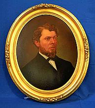 19TH C. PORTRAIT OF JOHN ARBUCKLE OIL ON CANVAS. Attributed portrait of John Arbuckle 91839-1912) founder of Arbuckle coffee in 1865 in PIttsburgh, Pa. Contained in oval gilt and gessoed wood frame. Marked: framed by J. J. Gillespie. Pittsburgh, Pa.