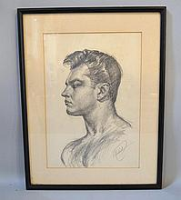 VINCENT NESBERT MALE MODEL STUDY. Vincent Nesbert (1898-1976). c. 1940-1950s male nude bust drawing, matted under glass in black wood frame. Signed lower right: V. Nesbert. Size: window: 14''H, 9 1/2''W. frame: 18 3/4''H, 14 1/2''W. Condition: acid