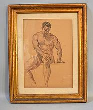 VINCENT NESBERT SEATED MALE NUDE STUDY. Vincent Nesbert (1898-1976). C. 1930-1940s Study of a seated semi nude male model, matted under glass in gilt wood frame. Signed: V.N. Size: window: 15 1/2''H, 11''W. frame: 22''H, 17 1/2''W. Condition: age
