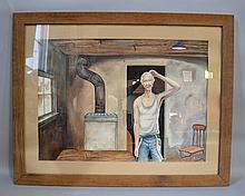 ANTONOPHON WATERCOLOR OF MAN IN INTERIOR. Realist watercolor on paper of man in undershirt in barren interior. Signed lower left: Antonophon. With acid matte in rustic wood frame. Size: frame: 29''H, 36 3/4''W. Condition: age appropriate wear, acid