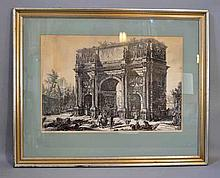 PIRANESI ETCHING OF ARCH OF CONSTANTINE. Giovanni Battista Piranesi 1720-1778. Piranesi etching from the Views of Ancient Rome, ''The Arch of Constantine''. framed in acid matte under glass in blue and gilt wood frame. Size: window: 15''H, 22''W.
