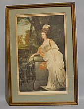 MEZZOTINT AFTER GAINSBOROUGH. Mezzotint after Gainsborough signed lower right: Percy Martindale. matted and framed in gilt wood frame. Size; 31 1/2''H, 21 1/2''W. Condition: age appropriate wear.