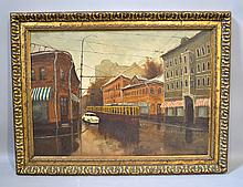 MIZNIKOV STREETS OF MOSCOW. 1992 Oil on canvas, Streets of Moscow, signed on back: in Russian: artist, title, date. Set in carved gilt wood frame. Size; canvas: 19 1/4''H, 27''W. frame: 24''H, 32''W./ Condition; age appropriate wear.