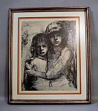 E. NACHLIN LITHOGRAPH OF SISTERS. e. Nachlin artist proof lithograph entitled ''Sisters''. matted and framed in silver gilt wood frame. Marked: AP Sisters E. Nachlin. Size: window: 24 1/2''H, 19 1/2''W. frame: 32 1/2''H, 27 1/2''W. Condition: age