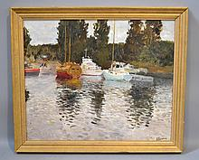 DIMITRY OBOZNENKO BOATS ON SHORE. Oil on canvas, signed lower right. set in gilt wood frame. Size; canvas: 19''H, 23''W. frame: 23''H. 28 3/4''W. Condition: age appropriate wear.