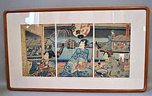 KUNISADA II (1823-1880). 1865 colored woodblock print triptych, Cooling off on Sumida River. Published by : Yogiya, Censor Seal: Aratame. Framed in acid free matte under glass in custom corner wooden frame. Size; frame: 21''H, 36''W. Condition: age