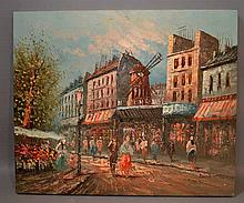 C. BURNETT PARIS SCENE VIEW OF MOULIN ROUGE. Caroline C. Burnett (20th c. ) View of Moulin Rouge, Paris, oil on canvas, unframed, palette knife technique. Signed: lower right: Burnett. Size; 20''H, 24''W. Condition: age appropriate wear.