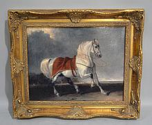 NEWER HORSE PAINTING. In gilt frame. No signature. purchased in Russia. Size; 15 1/4''H, 18 1/2''L. Condition: age appropriate wear.