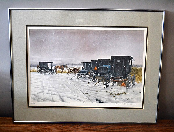 ''SUDDEN FLURRIES'' FLORIAN LAWTON   Pencil signed limited edition print #294/500. Framed. Amish Carts/Wagons. Condition, age appropriate wear. All items sold as is.