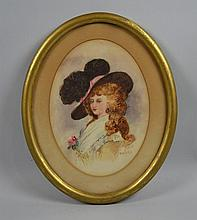 GEORGE R.M. HEPPENSTALL (American 1901-1923) 'Fashion Lady' watercolor on board, signed lower right Heppenstall. Contained in a oval gilt frame. Dimensions: 11''H x 9''W, frame, 15''H x 12''W. GEORGE R.M. HEPPENSTALL, Born June 7. 1901 and died in