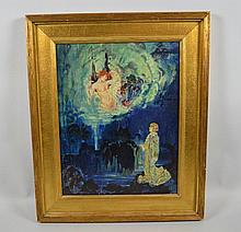 GEORGE R.M. HEPPENSTALL (American 1901-1923) 'Joan of Arc' oil on canvas board, signed lower left George Heppenstall, and dated 1921. Contained in a custom gilt frame. Dimensions: 18'' H x 14'' W, frame, 23 1/2'' H x 19 1/2'' W. GEORGE R.M.