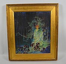 GEORGE R.M. HEPPENSTALL (American 1901-1923) 'Swamp Maiden' oil on canvas, signed lower right George Heppenstall, and dated 1921. Contained in a custom gilt frame. Dimensions: 18'' H x 15'' W, frame, 23 3/4'' H x 21'' W. GEORGE R.M. HEPPENSTALL, Born