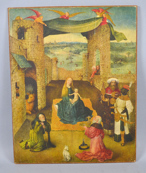 HIERONYMUS BOSCH (1462-1516) ''ADORATION OF THE MAGI'' PRINT #443 - Print affixed to board; paper label on reverse; Measures: Art 18''H x 14''W - Condition: Age appropriate wear; All items sold as is.