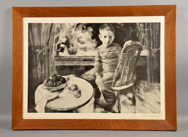 ROBERT SCHMALZRIED (US/PA, b. 1936) - ''A Child's Portrait'' Print; Signed upper right in print; set in wood frame; Measures: Visible Art 16''H x 22''W, Frame 19''H x 25''W - Condition: Age appropriate wear; All items sold as is.
