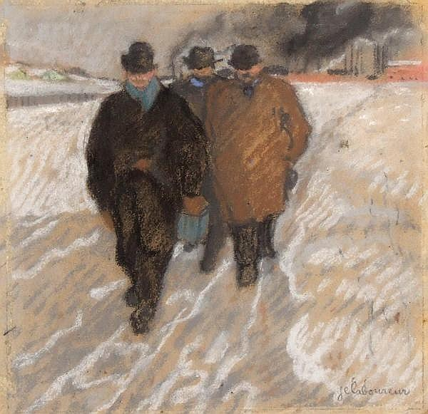 JEAN-EMILE LABOUREUR (French 1877-1943) 'Workmen Coming From Work', pastel, signed lower right J.E. Laboureur. This is a sketch for the etching titled 'Workmen Coming From Work' from the Ten Etchings From Pittsburgh portfolio dated 1905. It depicts