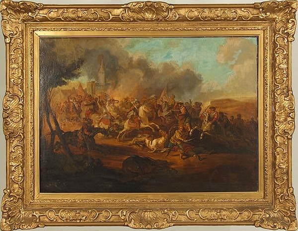 JACQUES COURTOIS, CALLED GIACOMO CORTESE, IL BORGOGNONE, CIRCLE OF (1621-1676) Cavalry Skirmish, oil on canvas, unsigned. Contained in 19th century gold painted molded gesso frame. Condition: old reline, two large areas of overpaint at lower left,