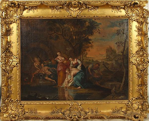STUDIO OF ADRIAEN VAN DER WERFF (Rotterdam 1659-1722) Thetis dipping Achilles in the Styx, oil on canvas, unsigned. Titled on stretcher in French. Contained in antique molded gessoed frame. Condition: old reline, repaired 3 3/4'' tear at lower left,