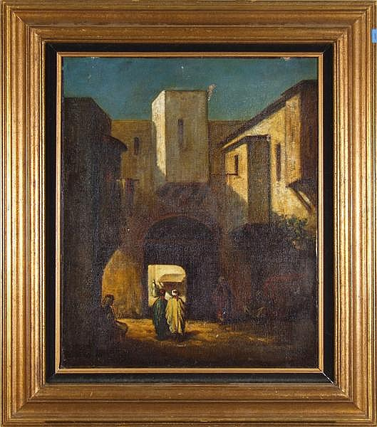 PROSPER MARILHAT, ATTRIBUTED (French 1811-1847) Arab men in bazaar, oil on canvas, indistinctly signed lower left. Contained in newer distressed gilt frame. Condition: original 19th c. crossbraced stretcher and canvas. Three scuffs and/or punctures