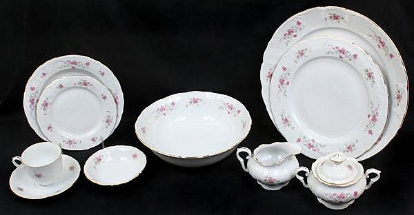CZECH PORCELAIN DINNERWARE 48 PIECES. Czech porcelain dinnerware Antoinette pattern with pink flowers and gilt & CZECH PORCELAIN DINNERWARE 48 PIECES. Czech porcelain dinner