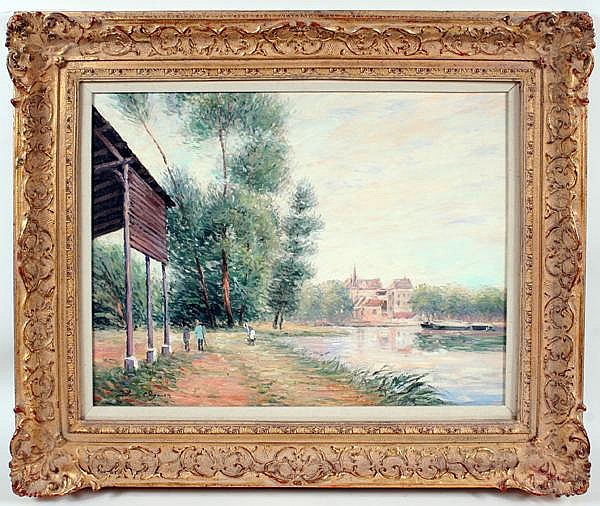 JOHN CLYMER (1932- ) Landscape with lake and buildings in background, oil on canvas, signed lower left John Clymer. Contained in distressed gilt frame. Condition: no visible defects. Dimensions: 18'' X 24'', frame 26 1/4'' X 32''.
