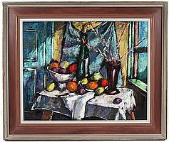 HARRY SHOULBERG (1903-1995) Still life, oil on canvas, signed lower left Shoulberg. Artist's biographical label on verso. Frame stamped. Contained in original painted wood frame. Condition: no visible defects. Dimensions: 24'' X 30'', frame 32'' X