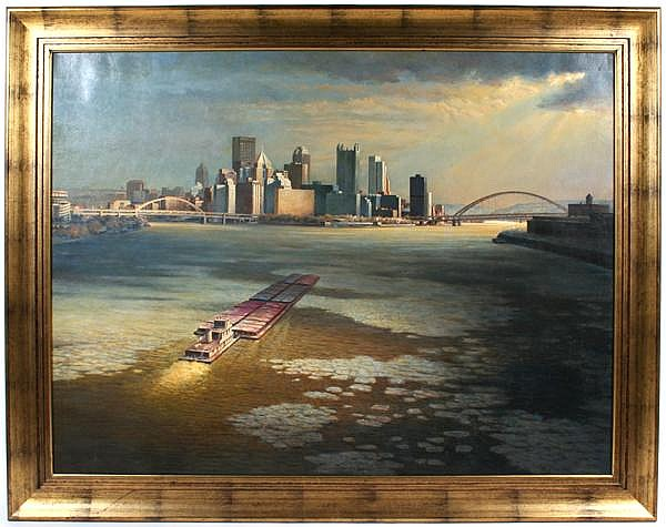 JOHN SHRYOCK (Pittsburgh/North Carolina 1914-2007) View of Downtown Pittsburgh in winter from the Ohio River with coal barges in foreground, oil on canvas, signed lower right Shryock. Contained in molded gilt frame. Condition: no visible defects.