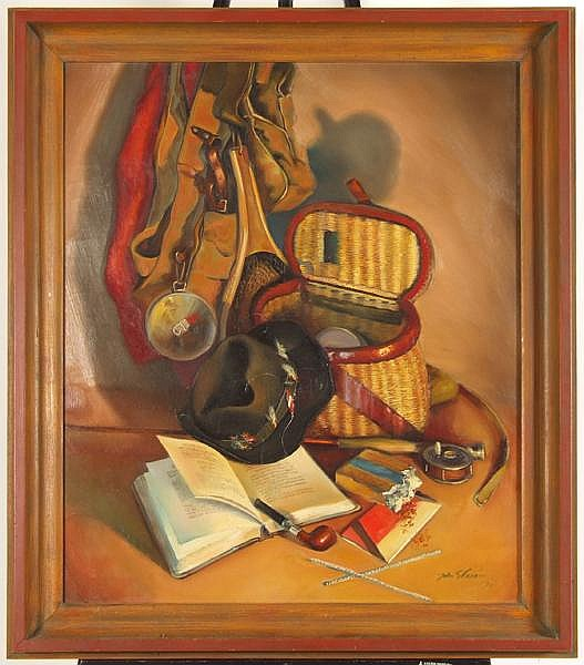 JOHN STEVENS COPPIN (American 1904-1986) Still life of fly fishing gear, oil on canvas, signed lower right John S. Coppin and dated '51. Contained in painted wood frame. Condition: no visible defects. Dimensions: 30'' X 25'', frame 35 5/8'' X 30