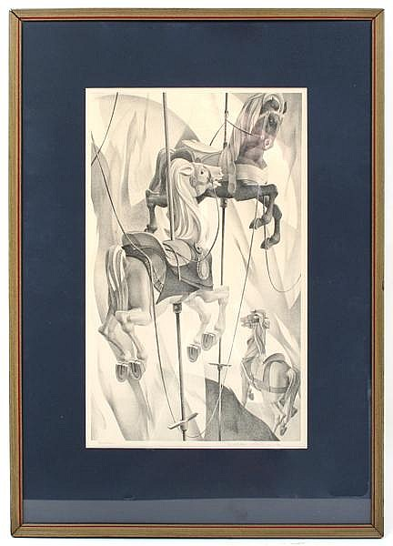 WILLIAM CHARLES LIBBY (Pittsburgh 1919-1982) 'Survivors', lithograph, pencil signed and titled. Contained in matted frame under glass. Condition: no visible defects. Dimensions: 15'' X 9 1/8'', frame 22 7/8'' X 16 1/4''.
