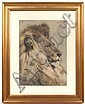 JAN VAN ESSEN (Dutch 1854-1936) Head of a lion, watercolor, signed upper right Jan Van Essen and dated 1892. Contained in matted gilt frame under glass. Condition: no visible defects, not examined out of frame. Dimensions: 13'' X 9 1/2'', frame 19, Johannes Cornelis