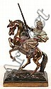PAUL HERZEL (American 1876-1956) Art Bronze sculpture of Arab with rifle on horseback, polychrome finish on rectangular base. Marked: Paul Herzel. Size: 11 1/4''H, 6 1/4''L, 2 7/8''W. Condition: age appropriate wear, minor loss to painted surface., Paul Herzel, Click for value