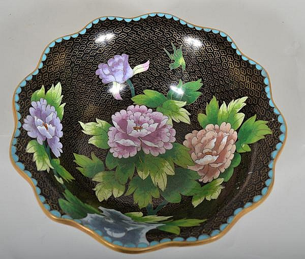 CHINESE CLOISONNE BOWL. Large cloisonne bowl with scalloped top rim, black ground with wire cloud pattern, decorated wit polychrome peony blossoms. No mark. Size: 4 1/4''H, 12''diam. top, 5''diam. base. Condition: age appropriate wear. (40).