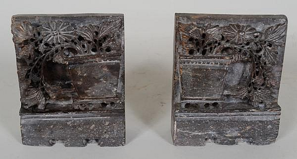 SOAPSTONE BOOKENDS. Soapstone bookends, carved vase and flower designs. No mark. Size: 5''H, 4''W, 1 1/4''Deep. Condition: age appropriate wear.