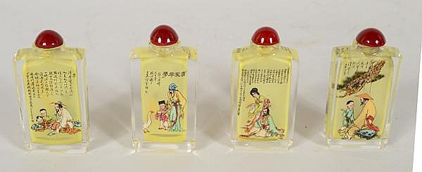 4 REVERSE PAINTED SNUFF BOTTLES. Lot of 4 snuff bottles, vertical rectangular form, figural and text details. Size; 3 1/4''H, 1 3/4''W, 3/4''deep. Condition: age appropriate wear.