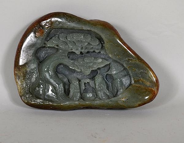 CHINESE CARVED JADE BOULDER. Green jade with russet skin and inclusions, scene of two scholars meeting under pine tree with pavilion in the distance. No mark. Size: 3 1/2''H, 5 1/2''W base, 1 1/2''thick. Condition: age appropriate wear.