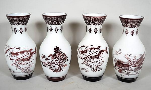 CHINESE PEKING OVERLAY GLASS VASES LOT 4 PIECES. 4 oxblood/ purple over white frosted glass vases includes: (2) vases with lobster and seaweed decoration, geometric decorated neck and rim, solid band base. No mark. Size: 10 3/4''H, 3 3/4''Diam. top,