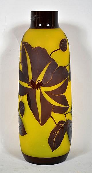 CHINESE PEKING OVERLAY GLASS VASE. Galle style acid cut overlay glass tapered vase, maroon flower and leaf design body, sold band top and base, shading maroon cut to yellow. No mark. Size: 11 1/4''H, 2''diam. top, 4''diam. widest part, 3 1/4''diam.