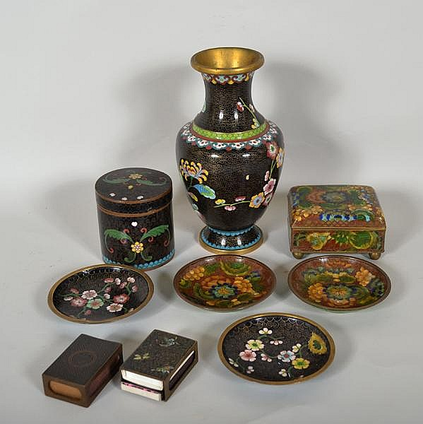 CLOISONNE ENAMEL LOT 9 PIECES. Lot of Chinese cloisonne enamel includes: (1) hinged lid box raised on four ball feet, brown ground, polychrome floral and leaf decoration. Marked; China. Size: 2 1/4''H, 3 3/4''W, 3''Deep. Condition: interior damage to