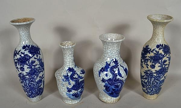 CHINESE BLUE AND WHITE CRACKLE GLAZE VASE LOT 4 PIECES. 4 Chinese blue and white porcelain vases with crackle glaze includes; (1) vase with dragon decoration. Marked: impressed mark. Size: 9 1/2''H, 3 1/2''diam. top, 5''diam. widest part, 3