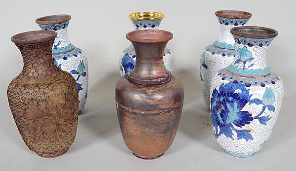 CLOISONNE SAMPLE SET. Set of 6 samples of the process of producing a cloisonne enamel vase from raw metal, to application of wire cloisones, and various enamel surface techniques. Size; 6''H. Condition: age appropriate wear.