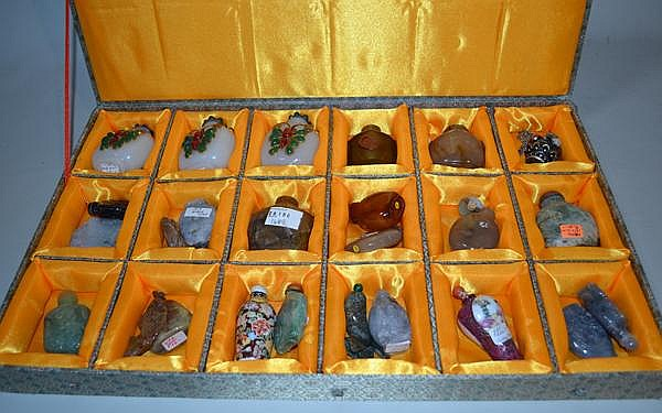 24 SNUFF BOTTLES. Lot of 24 snuff bottles. sold as is.