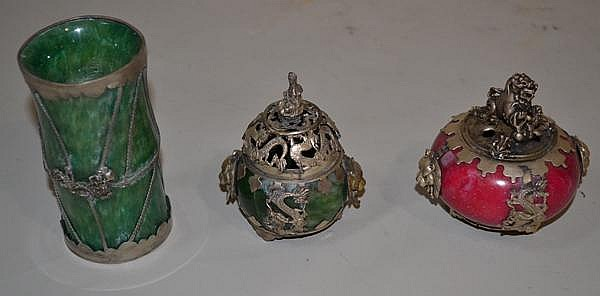 3 METAL CLAD ITEMS. 3 Chinese metal over stone items. sold as is.