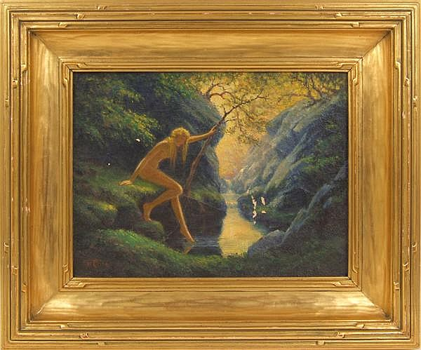 ALBERT E. SMITH (American 1862-1940) Nude dipping foot into stream, oil on canvas, signed lower left AES in cipher and dated 1935. Contained in signed Newcomb-Macklin wide carved gilt frame. Condition: paint flakes, craquellure. Dimensions: 12'' X