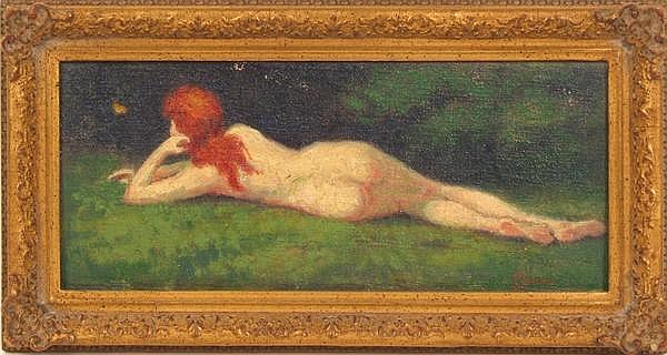 ALBERT E. SMITH (American 1862-1940) Reclining red haired nude, oil on board, signed lower right A.E. Smith. Contained in gilt frame, proboably Newcomb-Macklin. Condition: light abrasion at top left margin. Dimensions: 4 3/4'' X 11 1/4'', frame 6