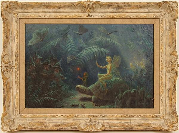 ALBERT E. SMITH (American 1862-1940) Magical scene with fairies, gnomes, insects and tortoise, oil on canvas stretched on masonite, signed lower right A.E. Smith and dated '40. Contained in gessoed French style frame with linen slip, probably