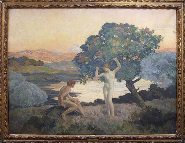 EMILE RENE MENARD (French 1862-1930) 'Adam and Eve', oil on canvas, signed lower left E.M. Renard and dated 1923. This painting was exhibited at the 1925 Carnegie International Exhibition. Three Carnegie Institute labels and two R. Lerondelle, Pairs