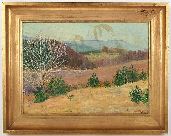 WILLIAM J. HYETT (Pittsburgh 1876-1952) Western Pennsylvania winter scene, oil on board, signed lower right Will Hyett and dated 1935. Gallery label: J.J. Gillespie, Pittsburgh, PA. Contained in gilt frame. Condition: surface grime, could use a good