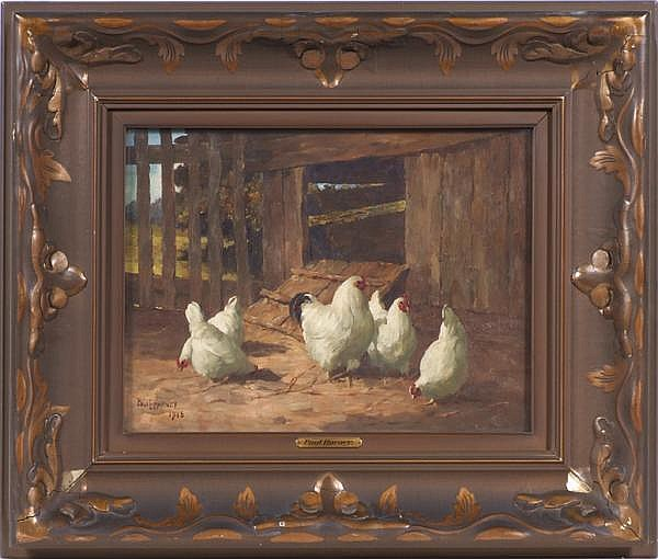 PAUL E. HARNEY (American 1850-1915) Chickens in front of coop, oil on canvas, signed lower left Paul E. Harney and dated 1915. Gallery label: Noonan-Kocian Co., Saint Louis. Contained in original parcel gilt frame under glass. Condition: no visible