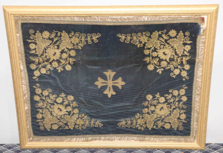 Antique religious cloth with gold thread hand embroidery