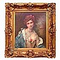 """MARTIN-KAVEL DANS LA CHARMILLE O/C. Late 19th /early 20th c. Oil on canvas. Signed lower left. Entitled in Dans la Charmille"""" on the frame. Francois Martin-Kavel (French, 1861-1931) is a listed artist who produced genre scenes, elegant pseudo-"""